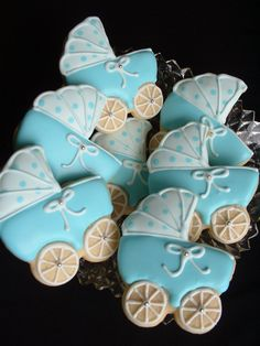 blue baby carriage cookie favors