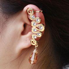 Fashion Orange Gemstone Drop Pendant Single Earrings Ear Clip For Women