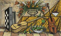 bernard buffet paintings | Bernard Buffet -instruments de musique et jacquet