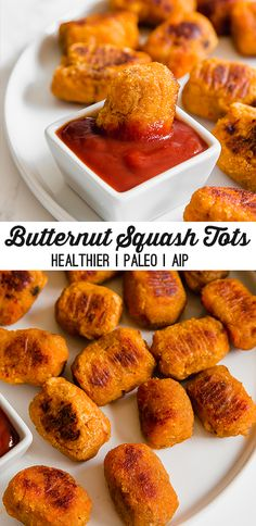 These butternut squash tots are a delicious fall snack or side dish! Theyre paleo gluten-free vegan and AIP-friendly. These butternut squash tots are a delicious fall snack or side dish! Theyre paleo gluten-free vegan and AIP-friendly. Low Carb Diets, Sweet Potato Tots, Sans Gluten, Gluten Free, Vegetarian Recipes, Healthy Recipes, Paleo Food, Paleo Meals, Paleo Vegan