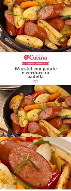 Wurstel con patate e verdure in padella Sausage Recipes, Cooking Recipes, Healthy Recipes, Food Humor, Polenta, Food Photo, Italian Recipes, Food Inspiration, Love Food