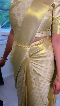 South Indian Bride Saree, Indian Bridal Wear, Blouse Designs High Neck, Half Saree Designs, Saree Draping Styles, Saree Styles, Floral Skirt Outfits, Saree Models, Dress Indian Style