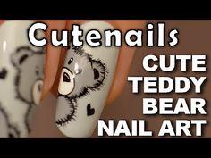 Teddy Bear Nail art tutorial : cute & easy