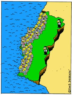 Map of Portugal by cartoonist Derradé, noting the extreme litoralization of the country starting in the 20th century. [[MORE]] deynos74: The concentration of population in the Litoral and the consequent desertification of the interior (as seen here )...