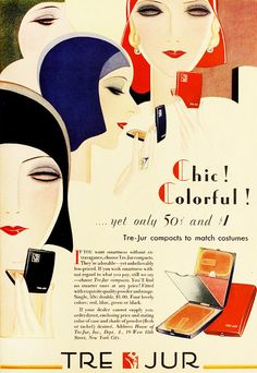 Chic! Colourful! Tre-Jur cosmetics, 1930. #vintage #1930s #beautify #makeup #ads