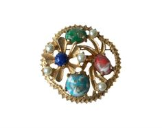 Sarah Coventry Brooch Pin Art Glass by MargsMostlyVintage on Etsy Pin Art, Coventry, Vintage Signs, Brooch Pin, Glass Art, Vintage Jewelry, Turquoise, Pearls, Floral