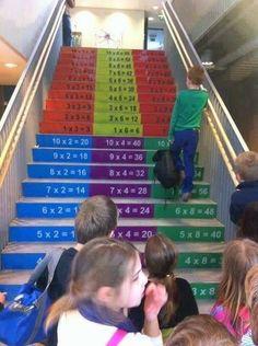 Mientras subo las escaleras, repaso las tablas de multiplicar.