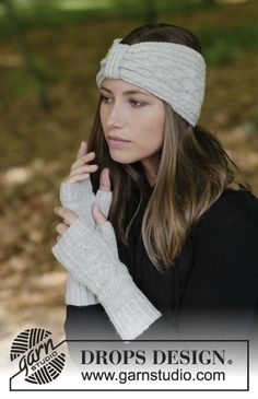Annely / DROPS - Free knitting patterns by DROPS Design The set includes: Knitted headband and cable warmer with cable pattern. The piece is worked in DROP Sweater Knitting Patterns, Free Knitting, Crochet Patterns, Drops Design, Knit Headband Pattern, Knitted Headband, Fingerless Gloves Knitted, Knitted Hats, Bandeau Torsadé