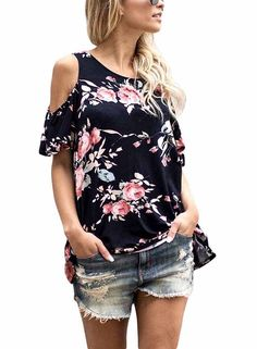 Annflat Women's Floral Print Cut Out Shoulder Short Sleeve T Shirt Blouse(9 Color, S-XXL) at Amazon Women's Clothing store: