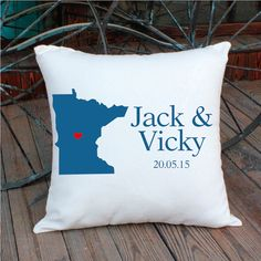 Custom state pillowcouple pillow coverMN cushionslong by Queenlife