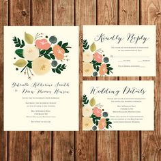Wedding Invitation, Printable, Floral, Vintage, Bohemian, Simple, Chic, Coral, Peach, Green, RSVP