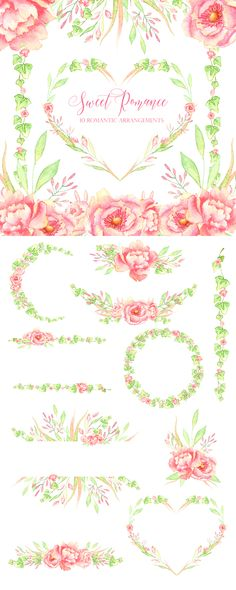 Pink watercolor peonies and bright green ivy leaves. Premade frames and arrangements. Perfect for wedding design, baby announcements, greeting cards, invitations, posters, quotes an more!  Instant download. Clipart. Hand painted. High quality.