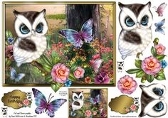 Enchanting Garden Owl on Craftsuprint designed by Karen Wyeth - A sweet garden owl quick card topper, with additional decoupage items, embellishments and a matching smaller gift tag topper. xk - Now available for download!