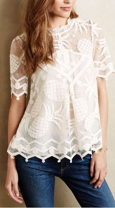 Pina Lace Top from Anthropologie. Shop more products from Anthropologie on Wanelo. Fashion Mode, Look Fashion, Womens Fashion, Fashion 2018, Paris Fashion, Mein Style, Costume, Mode Inspiration, Lace Tops