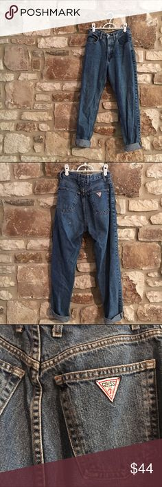 Vintage High Waisted GUESS Mom Jeans Super high waisted. GUESS. Mom jeans. Boyfriend jeans. Original tag says size 28 but is more like 25-26. Guess Jeans Boyfriend