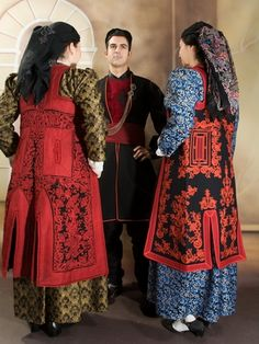 Traditional costumes from Zagori, (Epirus, NW Greece). Greek Traditional Dress, Traditional Outfits, Ancient Greek Clothing, Greek Dress, Greek Culture, Mode Boho, Folk Dance, Clothing And Textile, Folk Costume