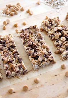 No-Bake Peanut Butter & Chocolate Chip Granola Bars