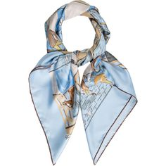 Pre-owned Herm?s Les Boxes Silk Scarf found on Polyvore featuring accessories, scarves, blue, multi colored scarves, hermes shawl, colorful shawl, blue silk scarves and silk shawl