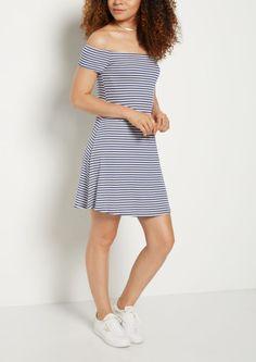 image of Navy Striped Ribbed Off Shoulder Swing Dress