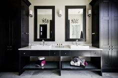 Perfect contemporary bathroom for teens in a Jack-and-Jill setup, just needs a wall in-between!