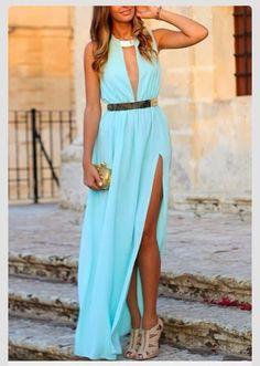 Dress: turquoise long grecian gold belt side slit es deep v neck