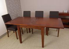 Mesa de comedor cuadrada y extensible BASIC 4, de madera de teca y apertura tipo libro. Estilo colonial, de Bambó Blau.