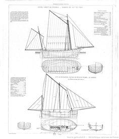 Collection de plans ou Dessins de navires et de bateaux anciens et modernes…