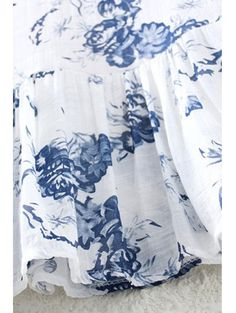 Ink Floral Print V Neck 3/4 Sleeve Blouse - WHITE ONE SIZE(FIT SIZE XS TO M) Mobile