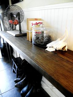 "Reclaimed barnwood table wood side entry way-- love the look of this entry. Table looks easy to make and could even ""float""."