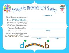 bridging from daisy to brownie certificate - Google Search