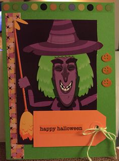 Halloween card with witch. Made from Krispie Kreme box