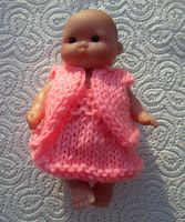 Ravelry: Little Rose for Berenguer Doll pattern by taffylass knits Barbie Knitting Patterns, Knitted Doll Patterns, Knitted Dolls, Doll Clothes Patterns, Crochet Dolls, Clothing Patterns, 4 Ply Yarn, Little Rose, Baby Doll Clothes