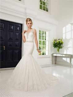 2015 Mermaid Sweetheart Beads Sashes Zipper Lace Wedding Dresses Bridal Gowns AWD630098