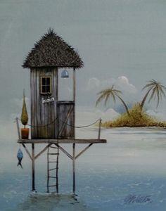 Gary Walton acrylic 'Fishing Retreat II'