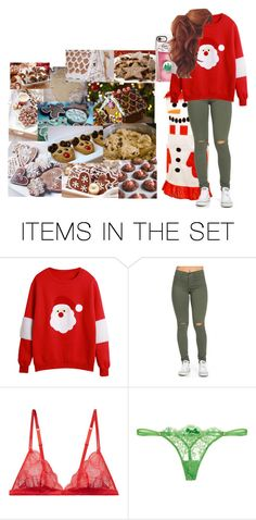 """""""Baking Christmas Cookies With Tayler!!"""" by sophialarson ❤ liked on Polyvore featuring art, Christmas, cookies, santa and Oversizedsweaters"""