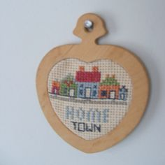 Cross Stitch Home Town Heart Ornament Wall Hanging by lookonmytreasures on Etsy