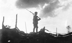 A lone Australian sentry keeps watch (Lt. Ernest Brooks; Fleurbaix, France; June 1916