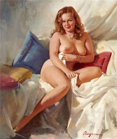 "Gil Elvgren::::  I gotta say, I like this one because this is a very natural woman. Gil didn't ""photoshop"" anything in his mind when he painted this."