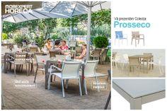 A venit vremea ieșirilor la terasă.  După o zi petrecută la birou cauți un loc frumos, unde să uiți de griji și te relaxezi în compania prietenilor. Cum alegeți terasa la care să vă întâlniți?  Vă prezentăm gama Prosseco Cu design slim și în culori calde: albastru, șampanie sau kaki, scaunele și mesele suprapozabile Prosseco sunt o alegere modernă pentru exterior.