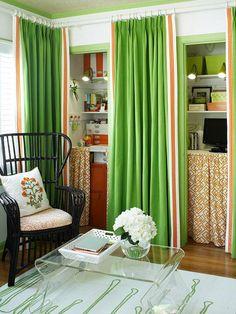 curtains instead of closet doors soften a room