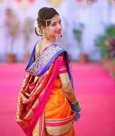 Image may contain: 1 person Hindu Wedding Photos, Indian Wedding Couple Photography, Wedding Poses, Marathi Bride, Marathi Wedding, Couple Photoshoot Poses, Saree Photoshoot, Wedding Saree Collection, Nauvari Saree