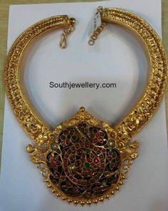 Antique Gold Kanthi Necklace with Peacock Pendant photo