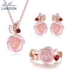 Cheap jewelry sets, Buy Quality fine jewelry directly from China jewelry set silver Suppliers: LAMOON Pink Flower Rose Quartz Sterling Silver Jewelry Sets Natural Gemstone Wedding 3pcs/set Fine Jewelry