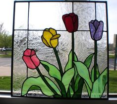 Image result for stained glass tulip panel