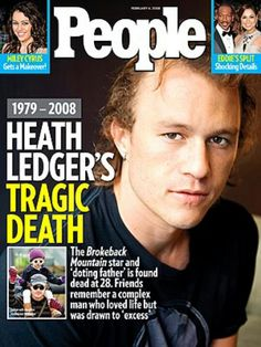 As surmised in my earlier post, People magazine will be the only celebrity weekly to have a cover featuring actor Heath Ledger, whose death was disc. People Magazine, Now Magazine, Magazine Covers, Eddie Murphy, Miley Cyrus, Still Miss You, Newspaper Headlines, Australian Actors, Christina Perri