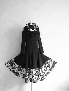 S  XXL Kleid Swing Monstera Weiß Schwarz Rockabilly Hochzeit
