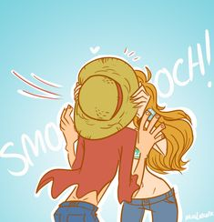 Nami and Luffy. Haven't read/watch this far, and so far I ship him and Boa but this pic is cute~