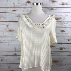 Forever 21 XS Knit Top Short Sleeve Fringe V Neckline CREAM Hi Low Hem NWT #FOREVER21 #KnitTop #Casual