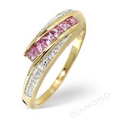 Pink Sapphire Diamond Ring  Yellow Gold
