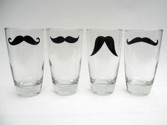 Mustachio'd pint glasses.